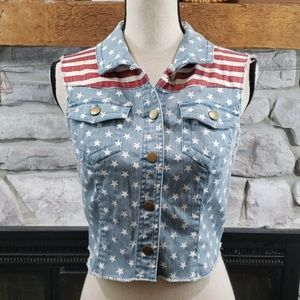 Tinseltown Faded American Flag frayed jean vest M